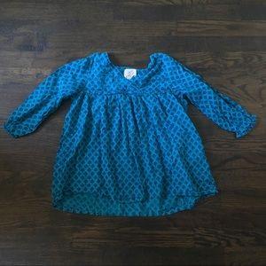 PEEK Girls Blue Patterned Boho Top Sz XL (10)